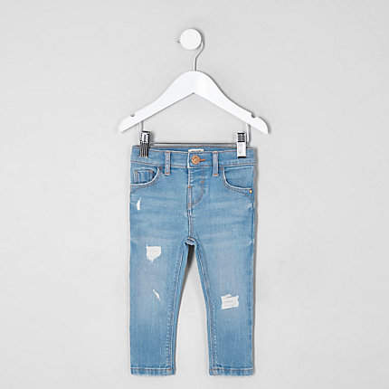 official images good looking half price River Island Mini girls blue Amelie ripped skinny jeans (With ...