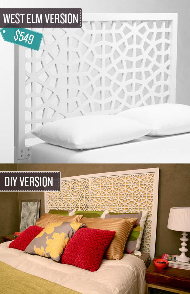 Build A Geometric Cutout Headboard. (youu0027d Never Guess That The DIY Version  Is Made From Decorative Doormats)