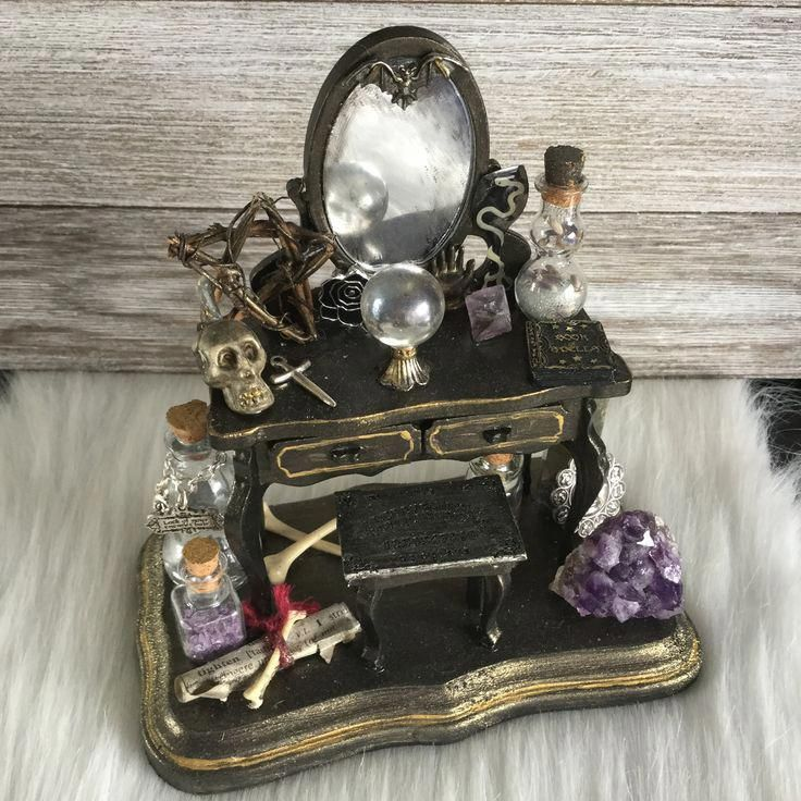 Miniature Witch Vanity, Dressing Table, Victorian Gothic, Spooky Chic, Curiosities, Halloween Dollhouse diorama