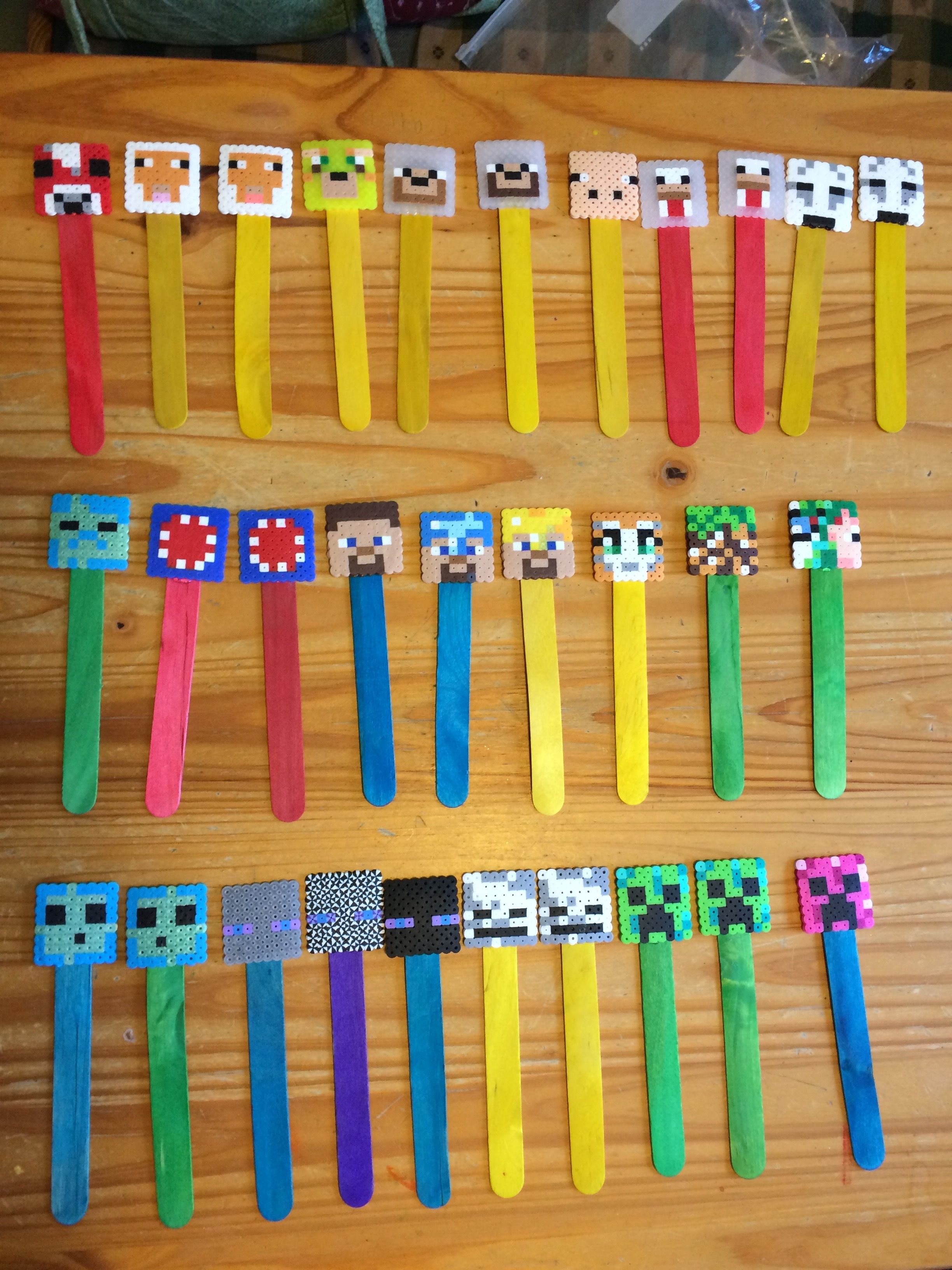 Perler bead minecraft bookmarks perler bead projects i for Minecraft bookmark template