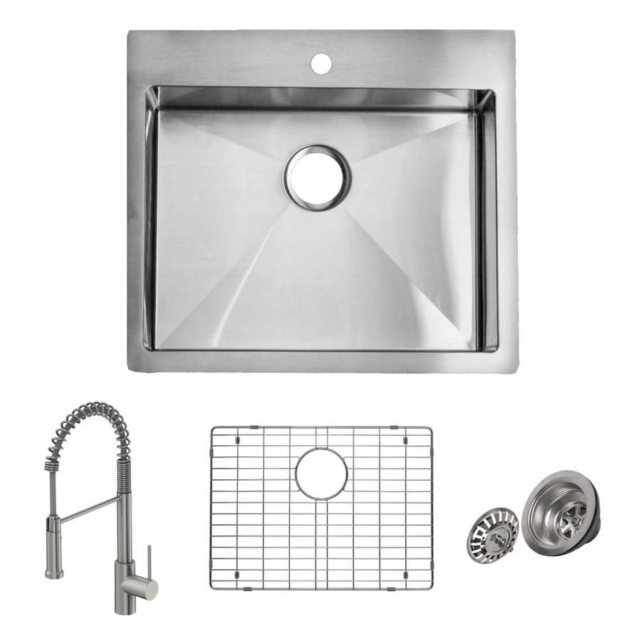 Giagni Trattoria Dual Mount 25 In X 22 In Stainless Steel Single Bowl 1 Hole Kitchen Sink All In One Kit Lowes Com Sink Stainless Sink Stainless Steel Kitchen Sink