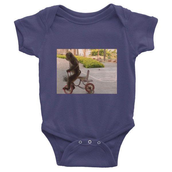 Monkey on a Bike Infant short sleeve one-piece