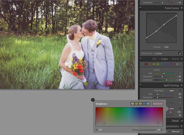 Split toning wedding photography