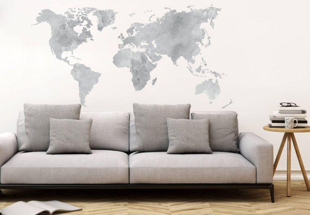 decorare le pareti del soggiorno con gli adesivi murali: una cartina ...