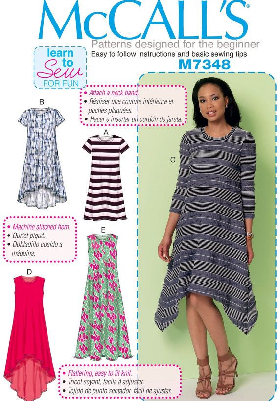 Learn to Sew a Dress Pattern, Easy Pullover Dress Pattern, Beginner ...