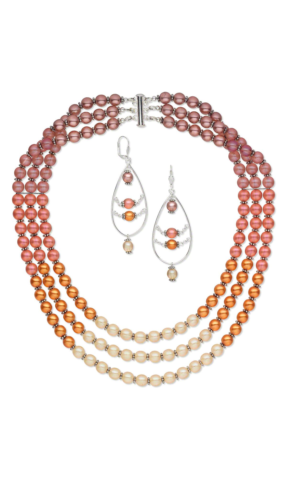 jewelry design triple strand necklace and earring set with czech