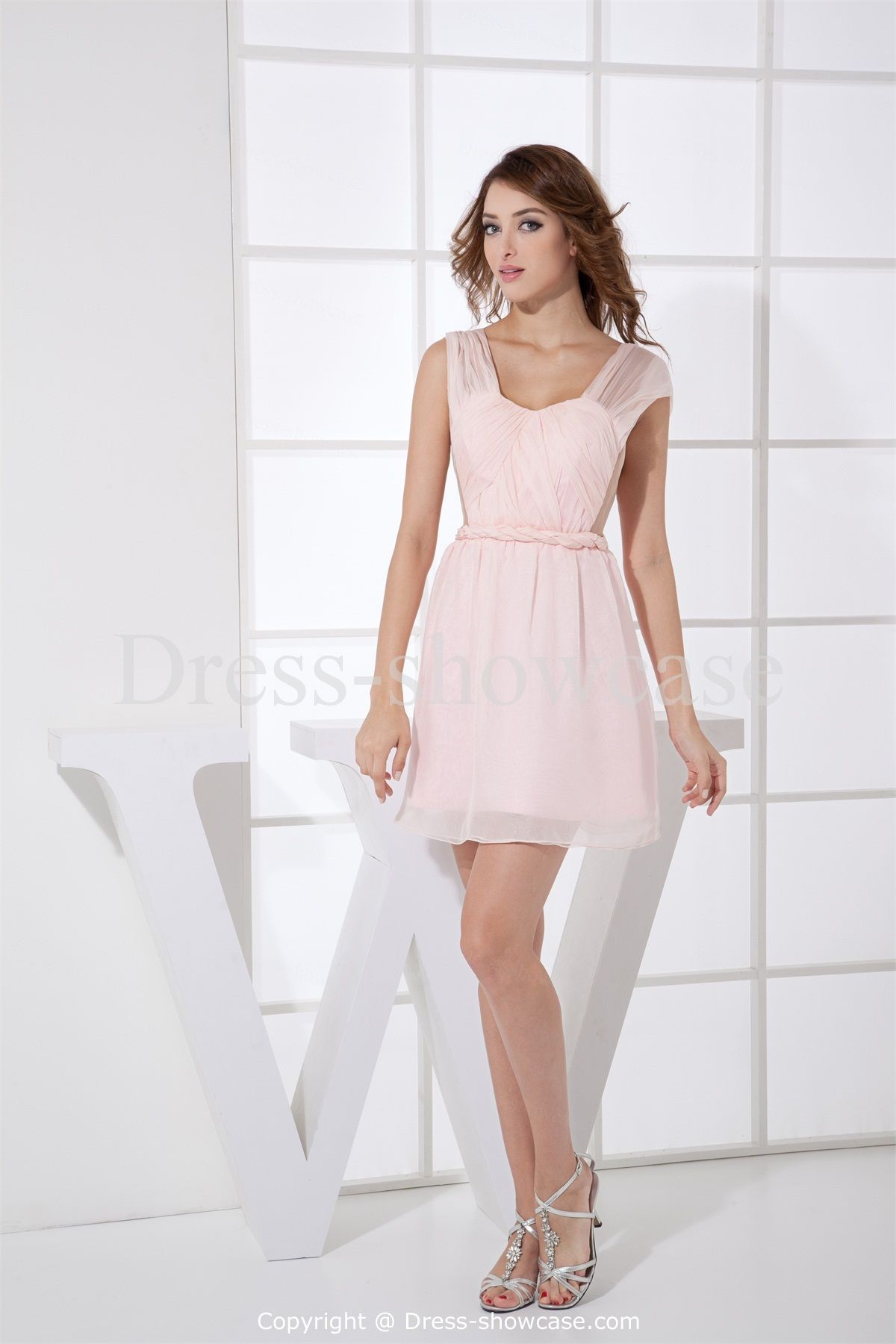 ruffles sleeveless wedding guest light pink dress
