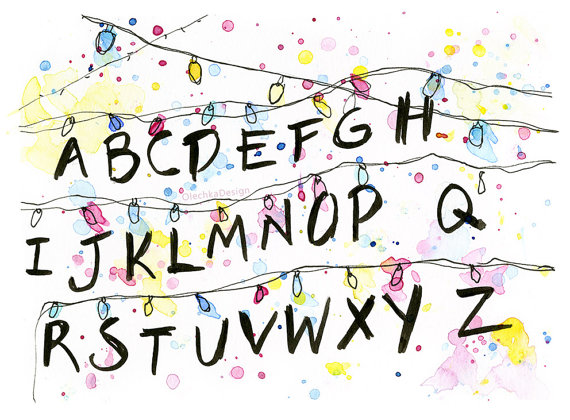 Alphabet Wall Christmas Lights, Watercolor Art Print, Wall