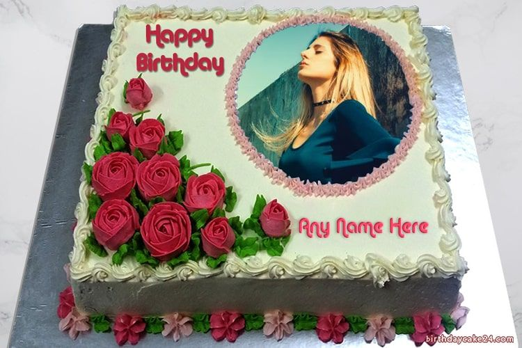 Beautiful red rose birthday cake, name and photo on