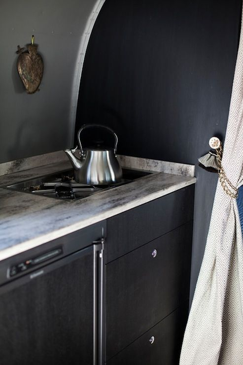 glamping! chic camper trailer with gray & black walls paint color