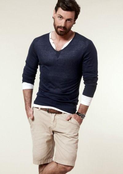 Men's Black V-neck Sweater, White Henley Shirt, Tan Shorts, Brown ...