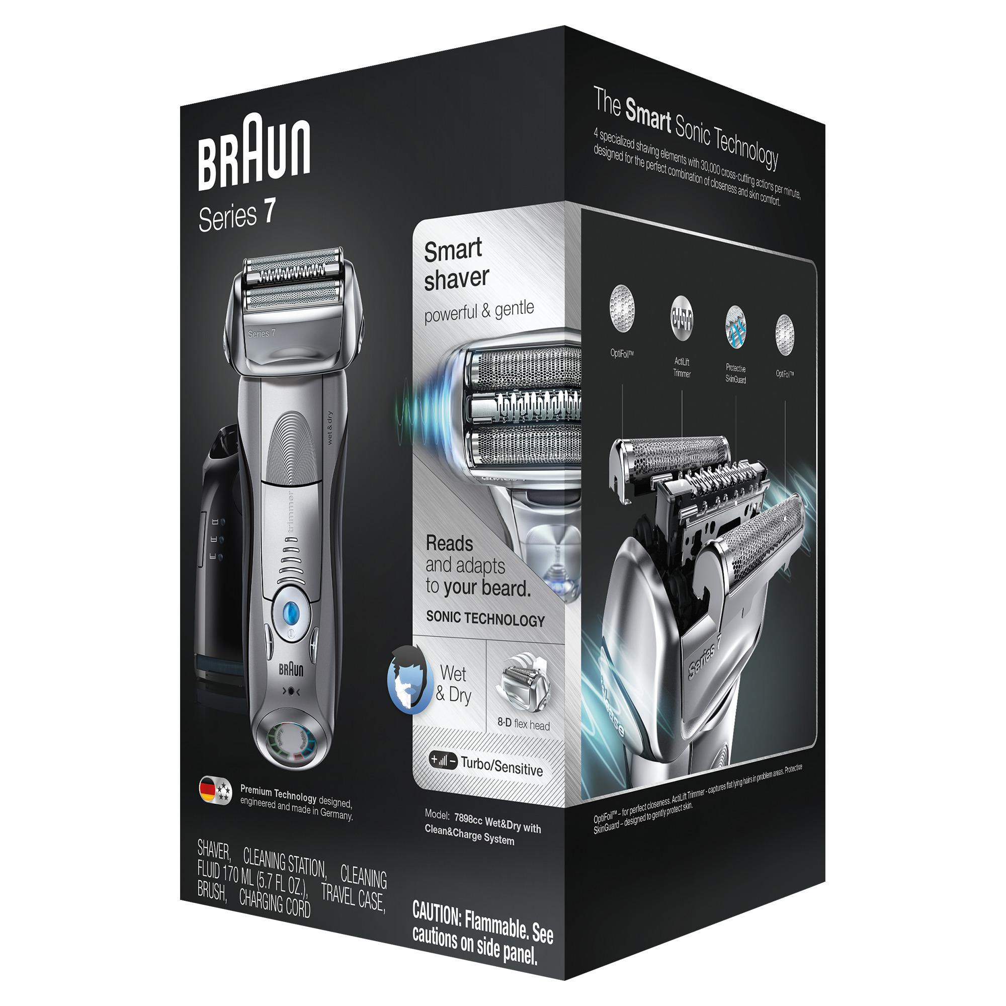 Braun Series 7 Men S Rechargeable Wet Dry Electric Foil Shaver With Cleaning Station Black Braun Electric Razor Foil Shaver Shaver