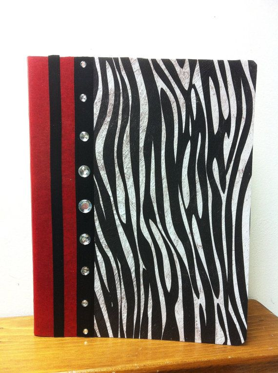 Zebra and Red Altered Composition Book w/ by DirtRoadCrafter, $10.00