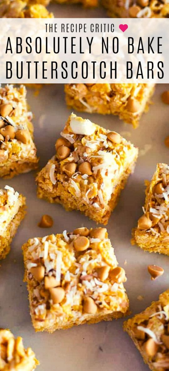 No Bake Butterscotch Bars are the perfect fast summer treat!  This easy recipe is made with marshmallows cornflakes coconut and butterscotch chips.