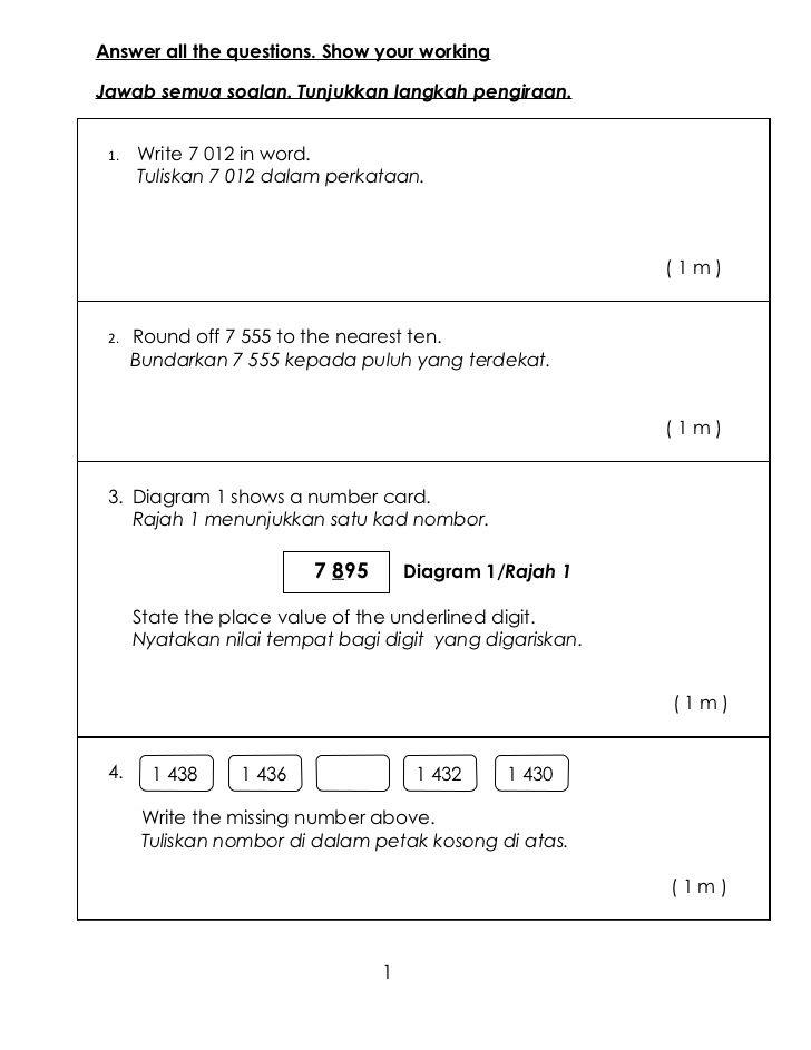 Peperiksaan Akhir Tahun Mathematics Year 4 Paper 2r Mathematics Math Test Exam Papers
