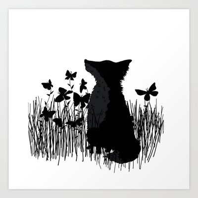 Little Fox in a Butterflies Field (black) Art Print by Leslie Tychsem - $17.00