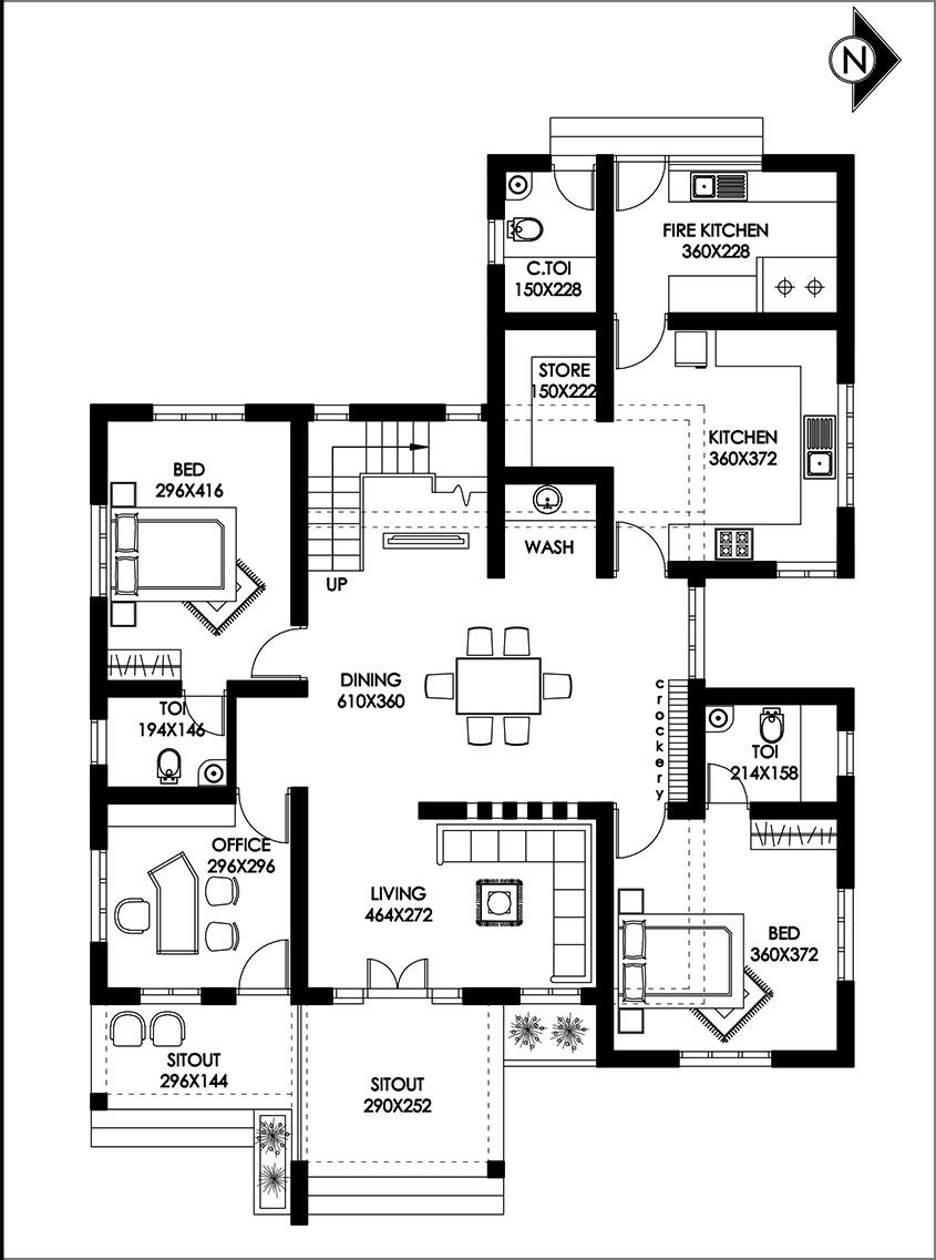 4 Bedroom Renovated Home Design With Free Plan Free Kerala Home Plans Single Storey House Plans Kerala House Design Bungalow Floor Plans