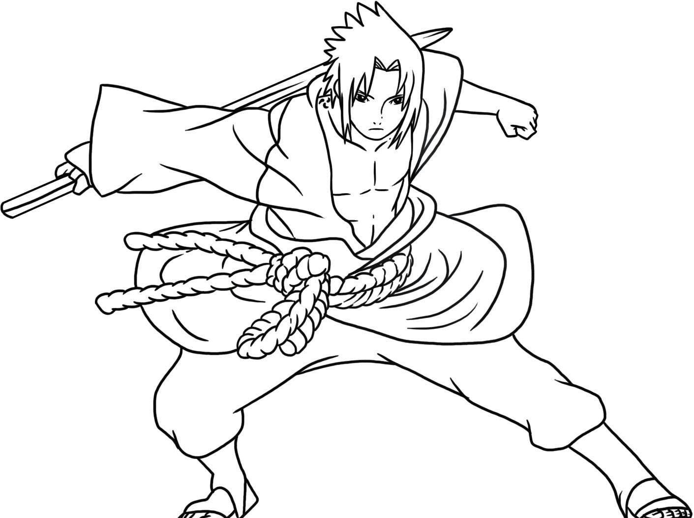 Sasuke Sketsa Halaman Mewarnai Cara Menggambar
