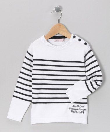 Losan White Stripe Pacific Crew Sweater  #zulily #fall