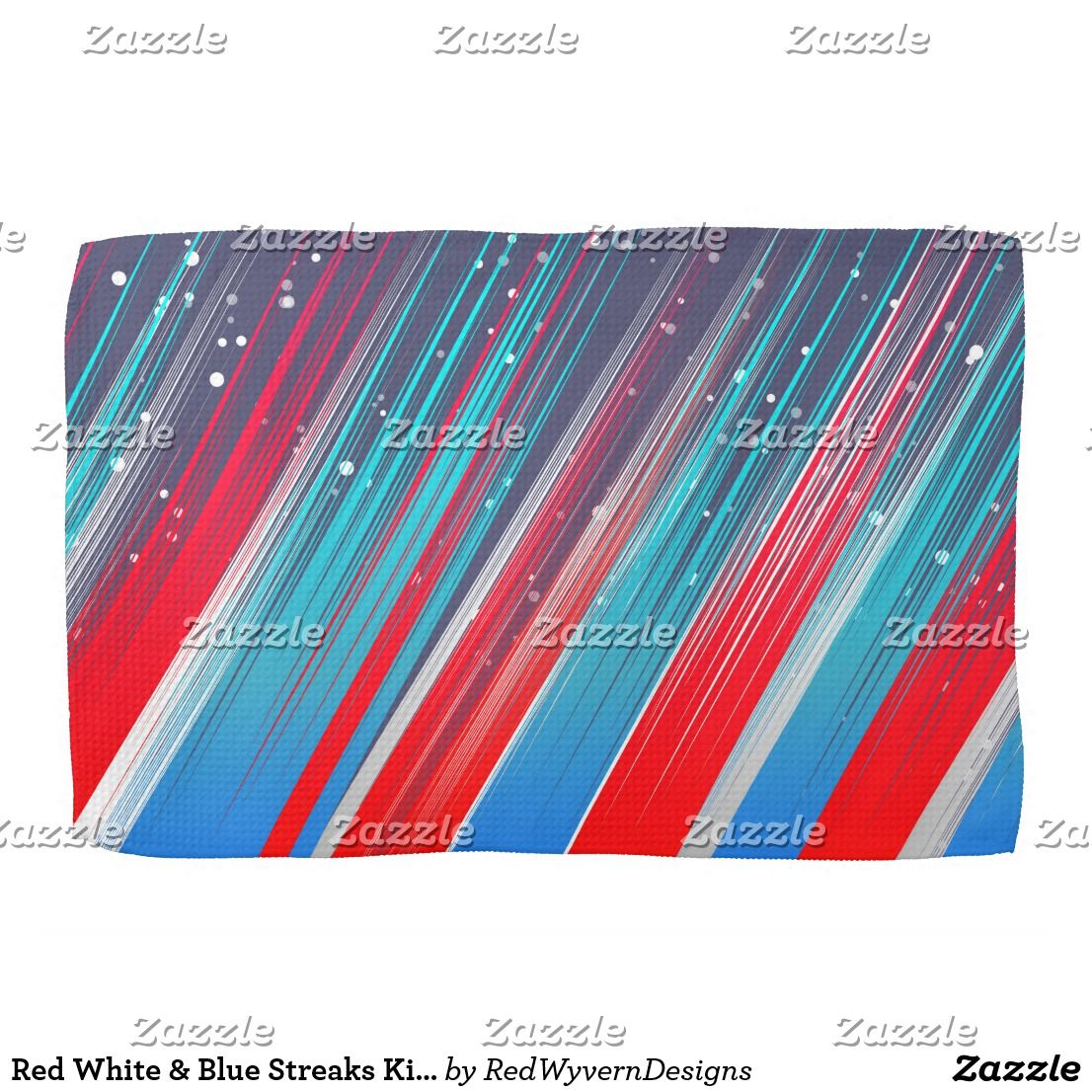 Red White Blue Streaks Kitchen Towels Zazzle Com Red White