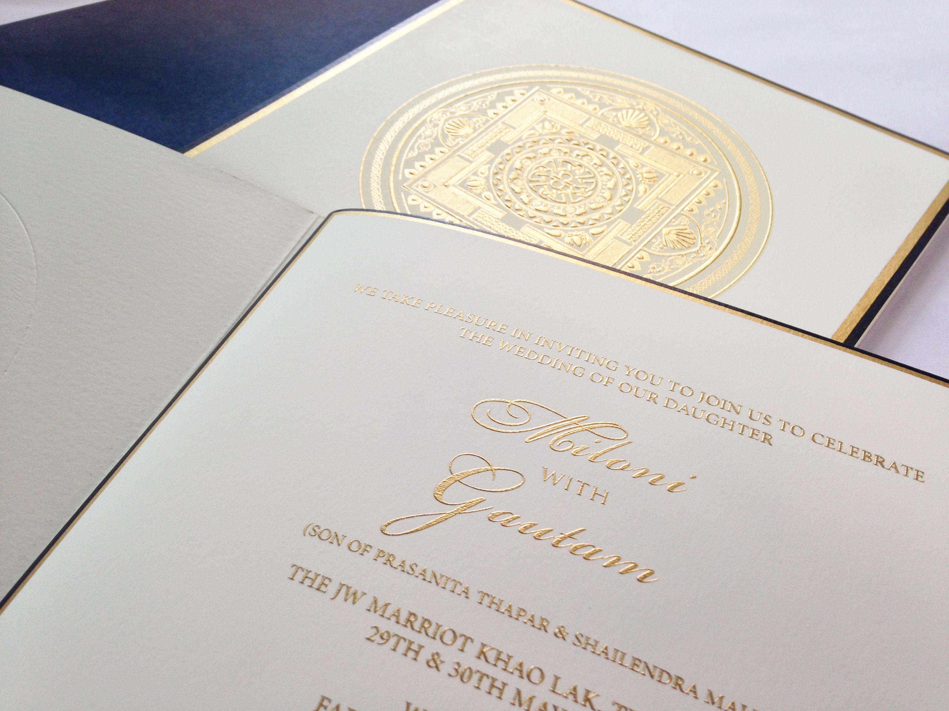 Elegant wedding invite with intricate mandala design embossed in ...