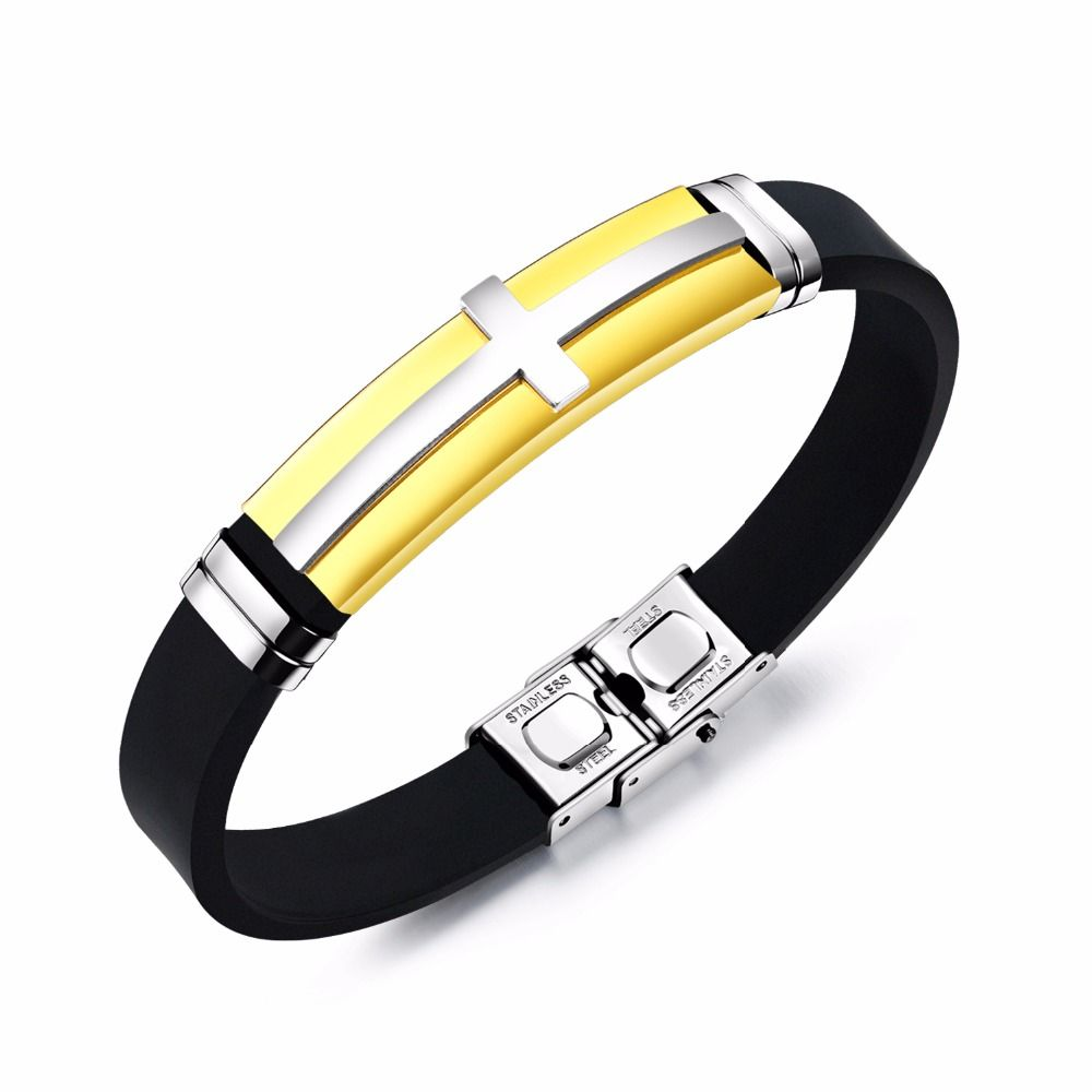 Men/'s Cool 316L Stainless Steel Black Rubber Wristband Bracelet Bangle Jewelry