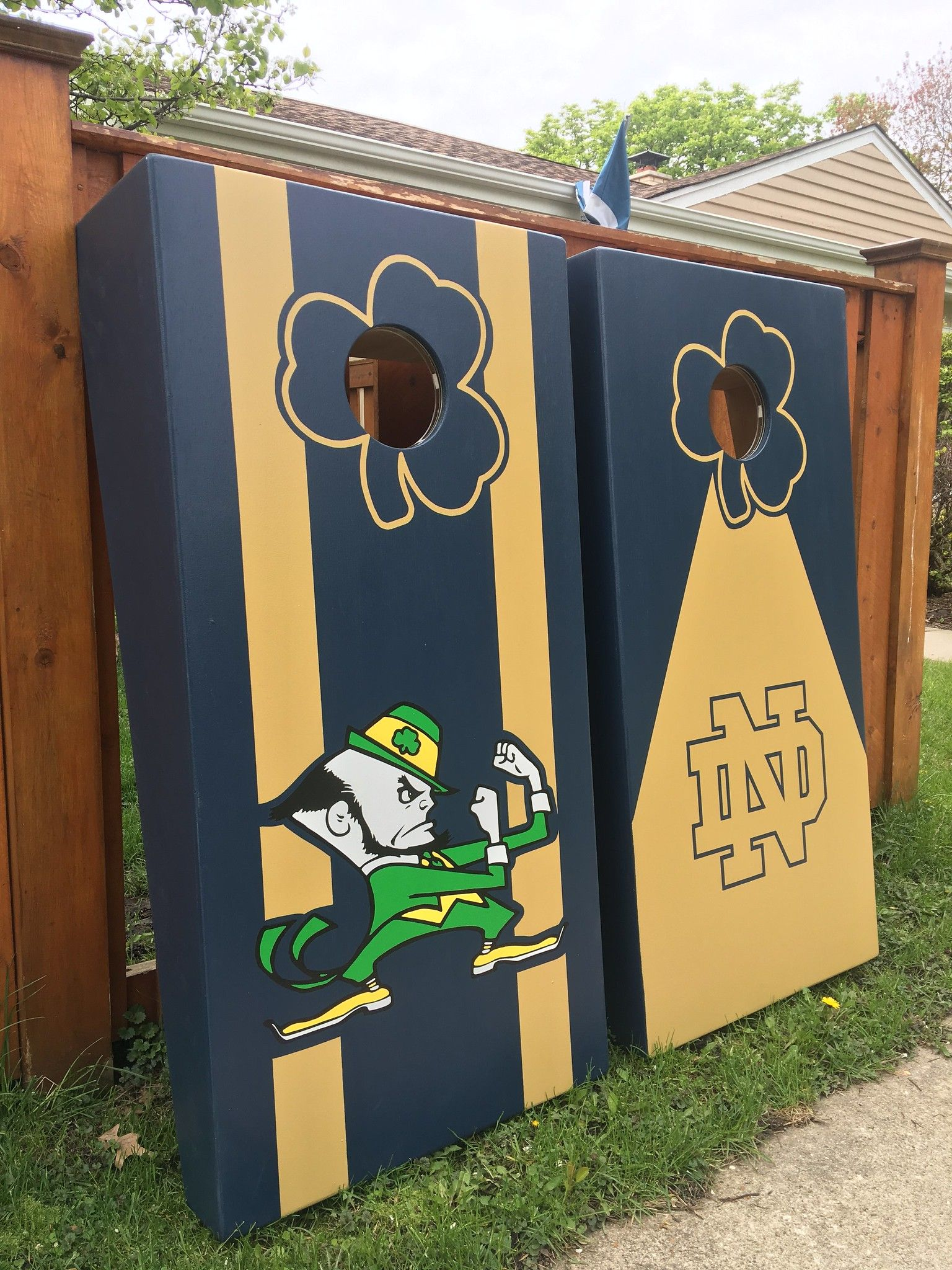 Notre Dame Fighting Irish custom cornhole boards Custom