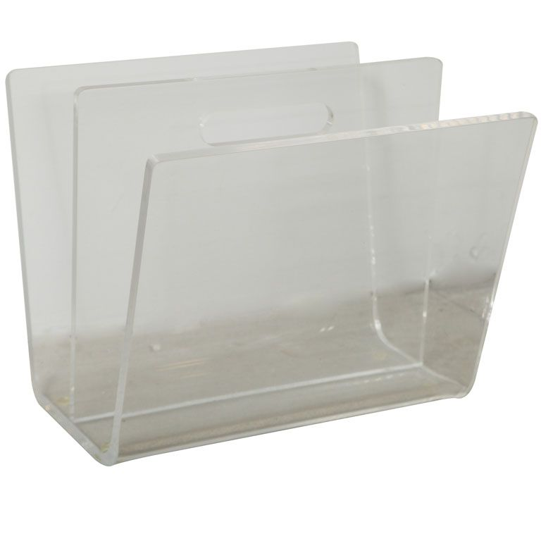 1st Dibs 495 11x13x11 Lucite Magazine Holder From A