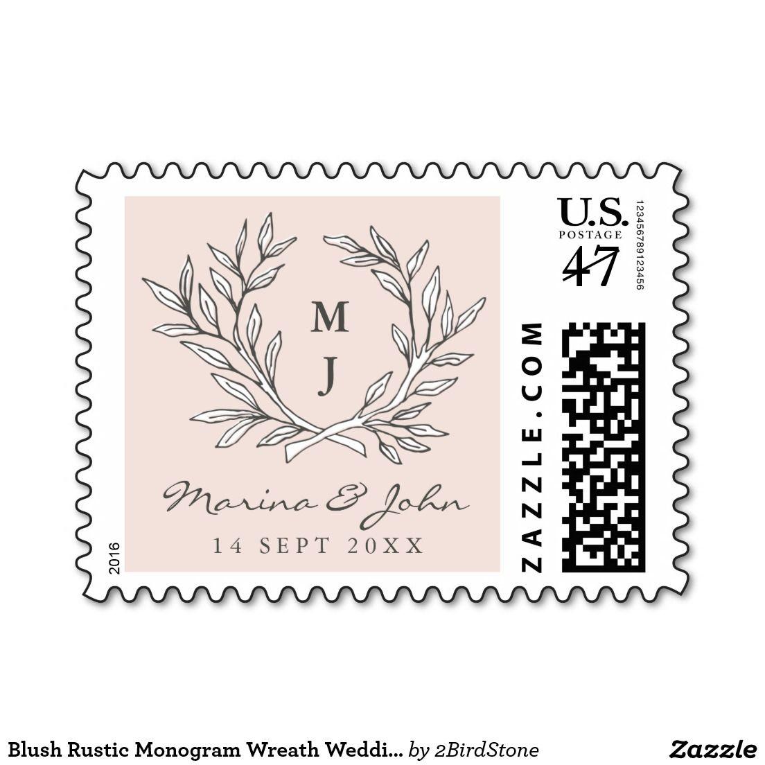 Blush Rustic Monogram Wreath Wedding Postage Stamp   Wedding postage ...