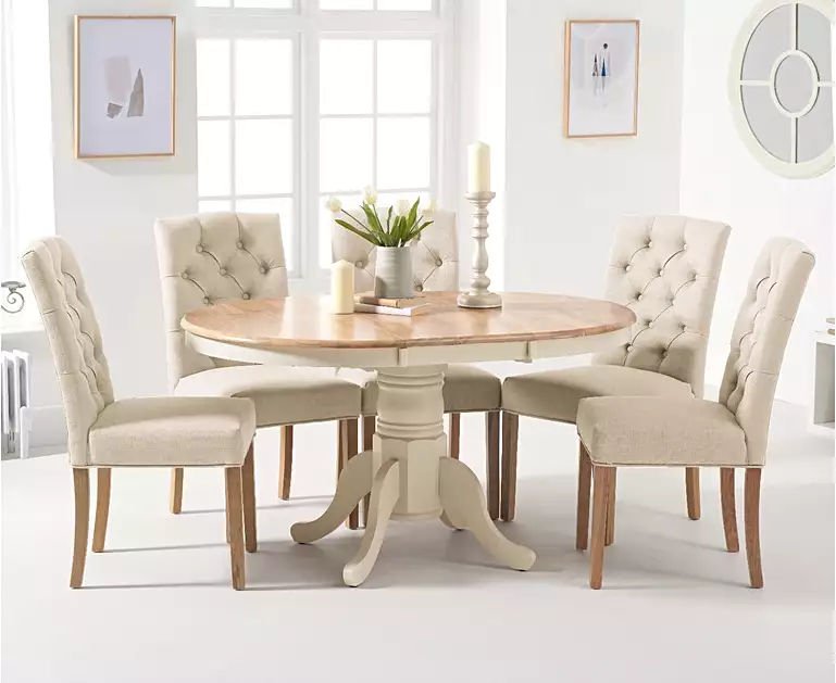 Epsom Oak And Cream Pedestal Extending Dining Table With Claudia Cream Fabric Dining Chairs Oak Dining Furniture Round Dining Room Sets Round Pedestal Dining Table