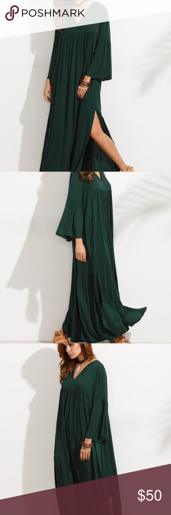 V neck bell sleeve split maxi dress in my posh picks