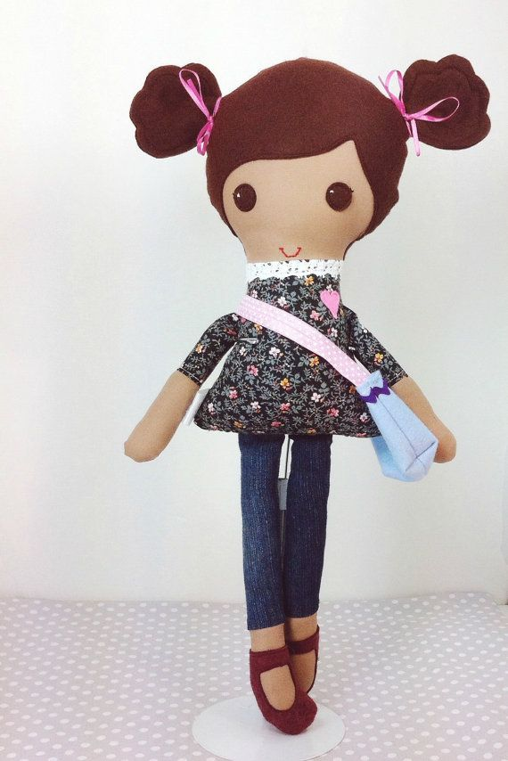 Handmade Custom Doll - Cloth doll - Bless Her Heart Doll - Brown Haired Girl - Purse Tote Bag  - Fabric Doll -LOVED