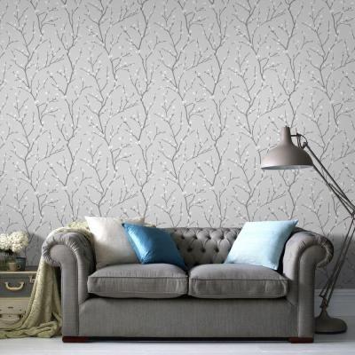 Graham Brown Gray Karma Wallpaper 33 276 The Home Depot Gold Living Room Grey Wallpaper Wallpaper Living Room