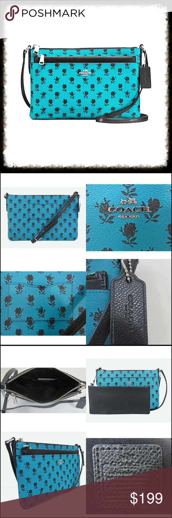 4cc74d6ddc4db Coach Floral Crossbody w/ Pop-Up Pouch COACH East/West Crossbody with Popup  Pouch Gift receipt included 100% authentic Incudes black pebble leather pop- up ...