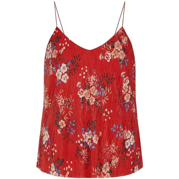 red floral print pleated cami top 75 brl liked on polyvore
