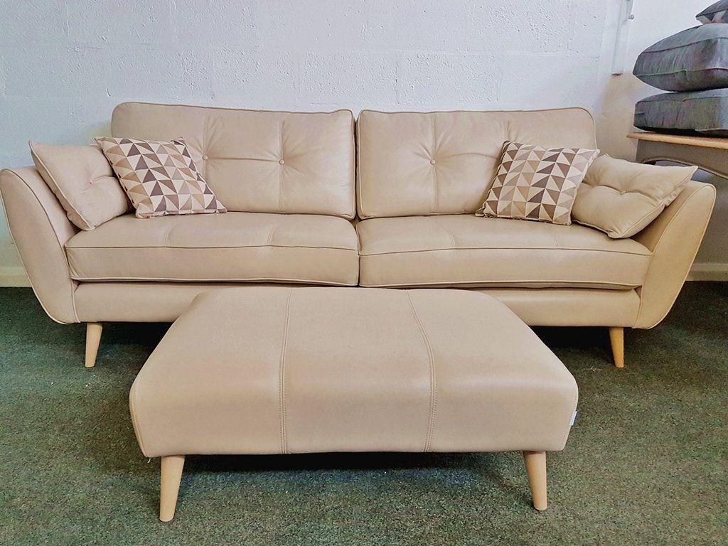 Beautiful Sofas Ex Display French Connection Zinc Leather 4 Seater Sofa