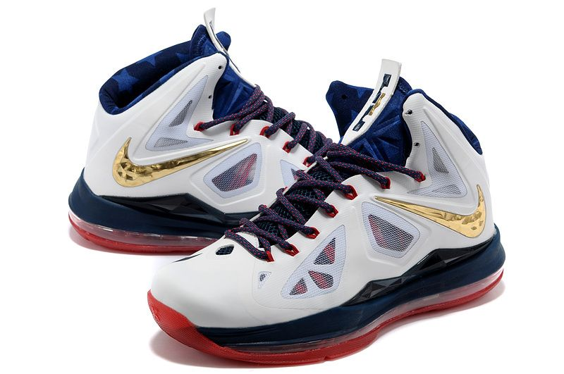 Nike Lebron James 10 White Blue Red Gold For Women