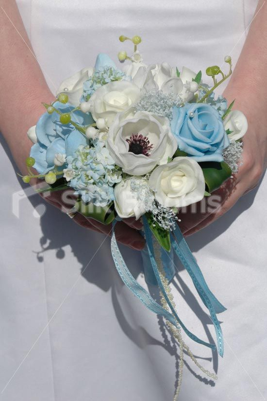 Real Touch White & Light BLue Anemone Wedding Mini Posy ...