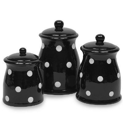 3 Pc Canister Set Black And White