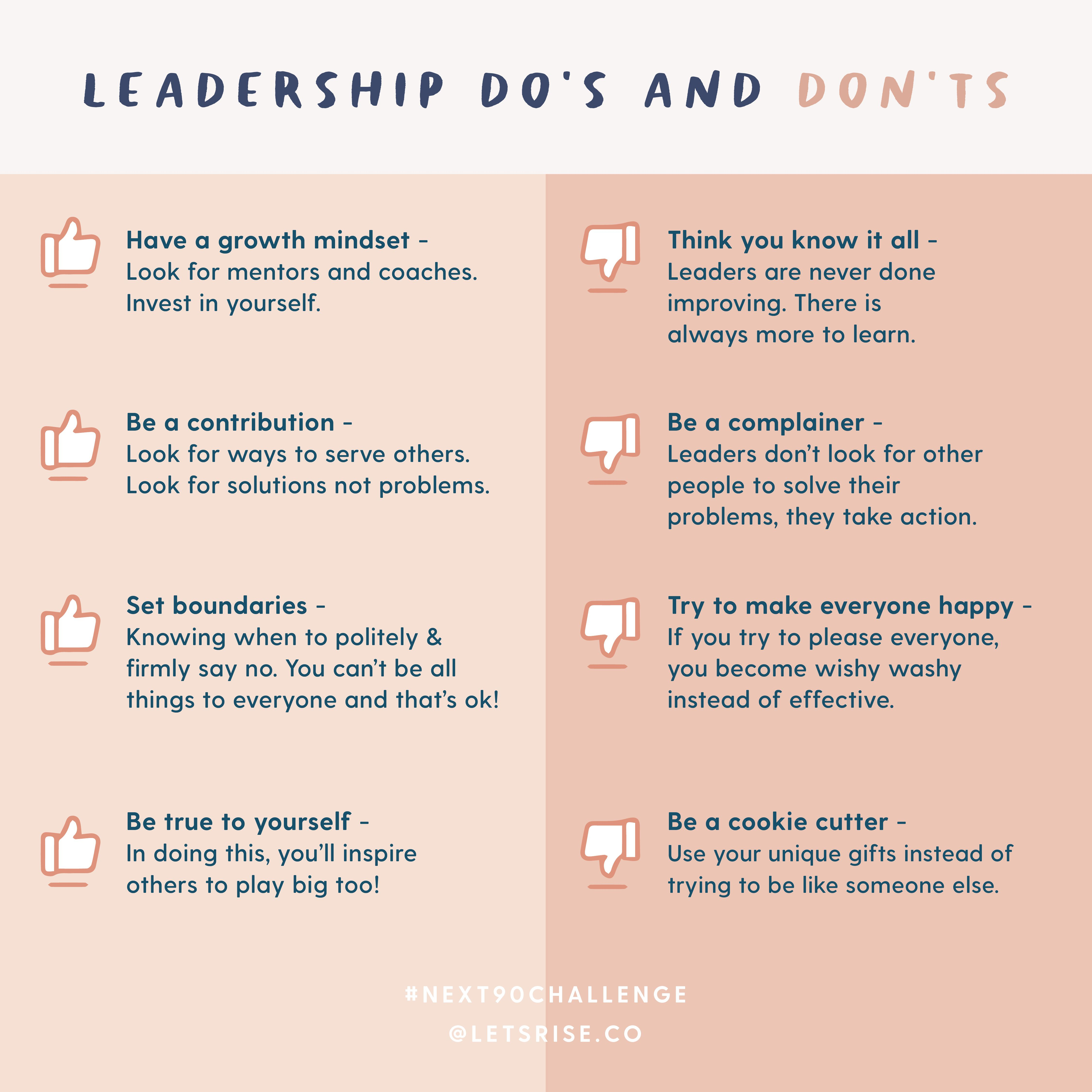 Leadership Do S And Don Ts Leadership Leadership Skills Business Mentor