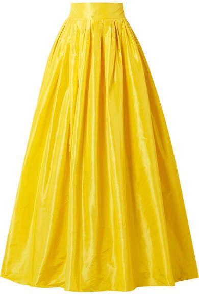 6a0d3a4bca Carolina Herrera - Belted Pleated Silk-satin Maxi Skirt - Yellow ...