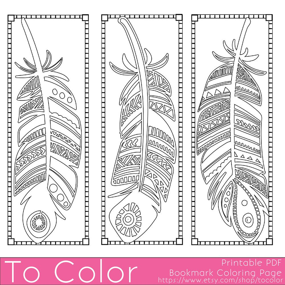 feathers coloring page bookmarks this is a printable pdf