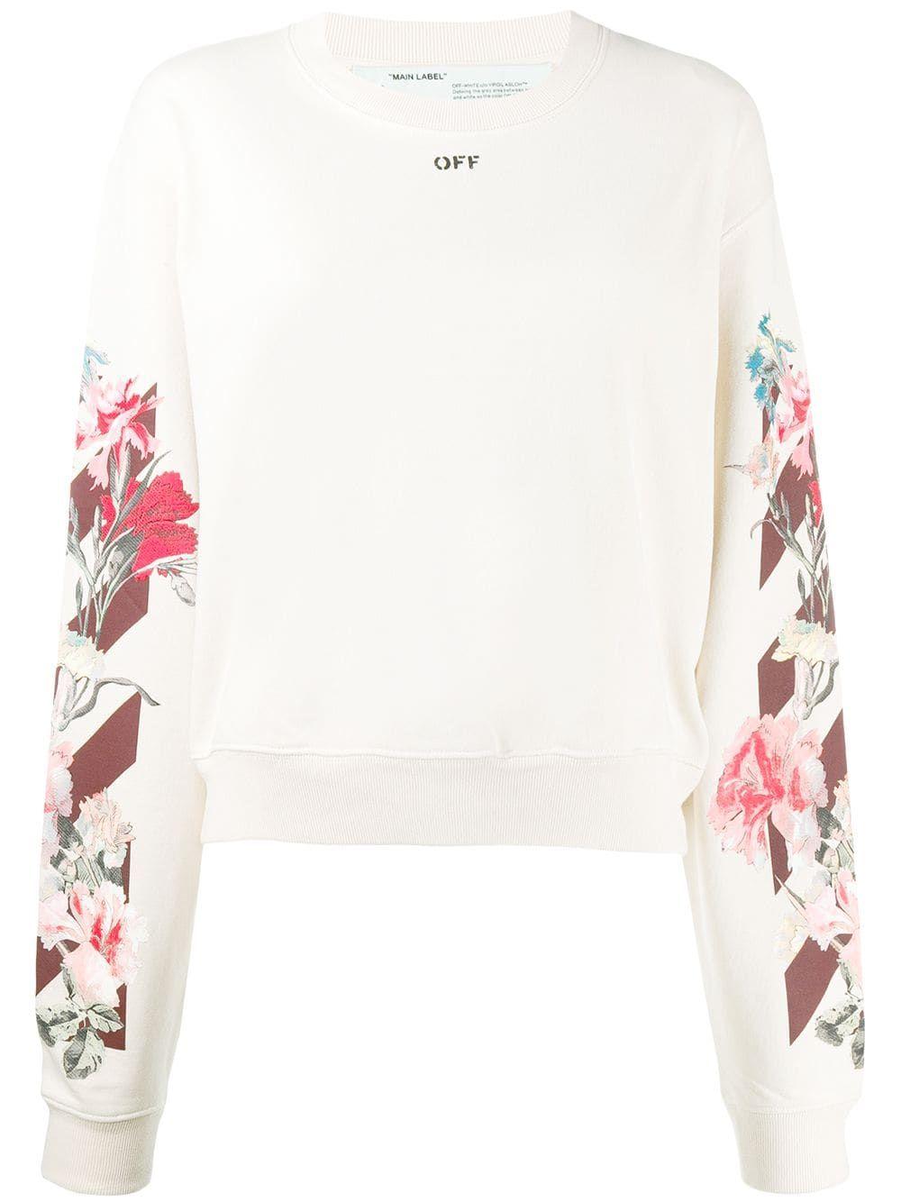 Off White Floral Sweatshirt Farfetch Floral Sweatshirts Clothes Design Detail Sweatshirt [ 1334 x 1000 Pixel ]