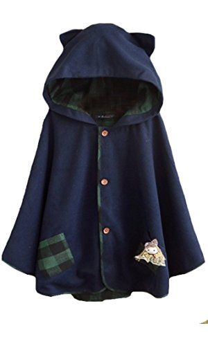Aza Boutique Women`s Cute Button Down Tweed Cat Ears Hooded Cape