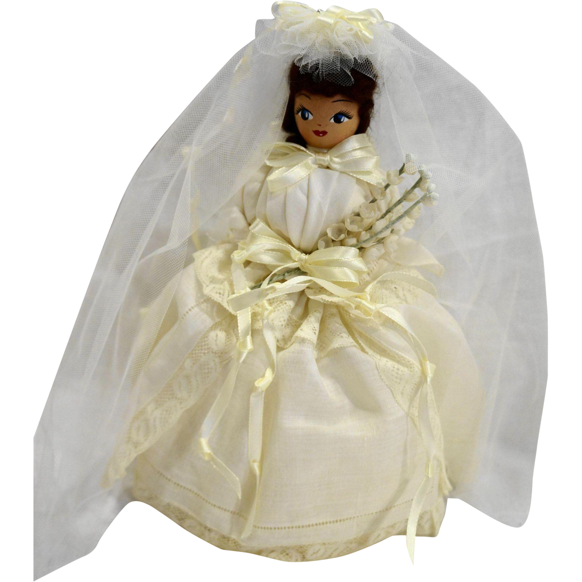 Neiman Marcus Handkerchief Bride Doll Brunette Vintage