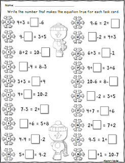 FREE Winter Worksheet using Single Digit Equal Equations