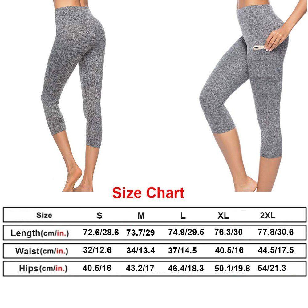 TYUIO Yoga Pants for Women High Waisted Workout Running Capri Leggings Hidden Pocket