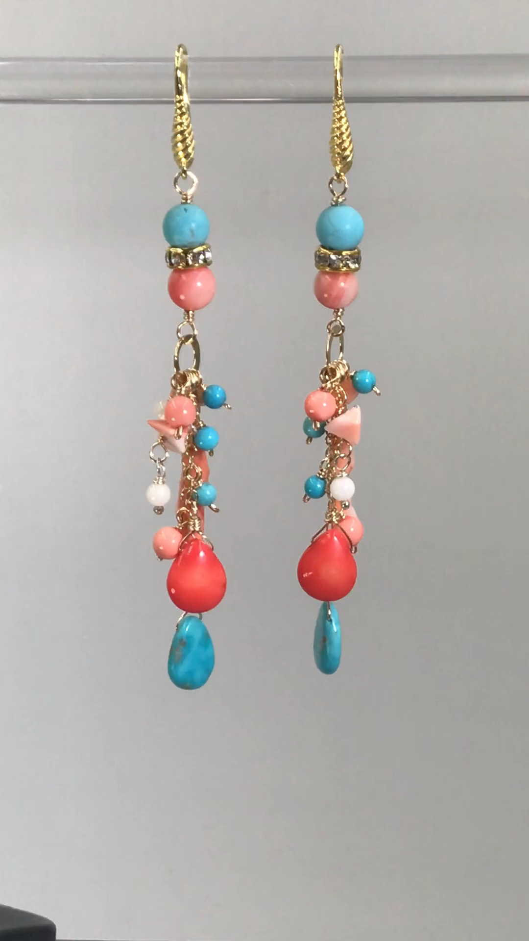Photo of Turquoise Coral Long Gold Boho Dangle Earrings