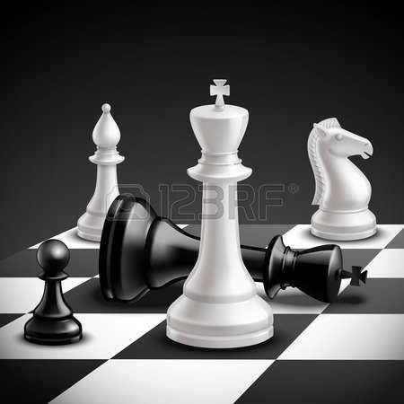 Board Game Pieces Chess Game Concept With Realistic Board And Black