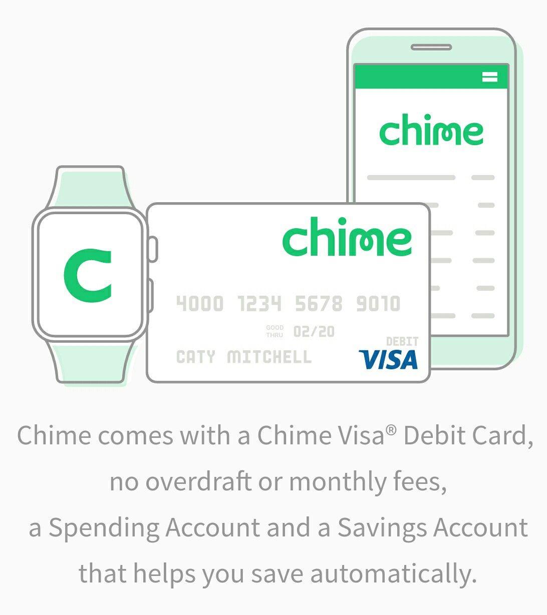 Chime Banking Visa debit card, Banking app, Banking